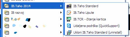 Windows start izbornik - nakon instalacije IB.TAHO (na Windows XP sustavu)