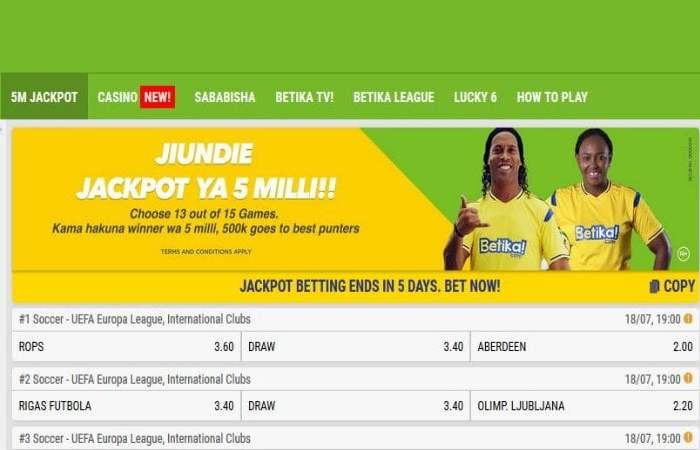 3rd,4th & 5th August 2019 Betika Jackpot Predictions
