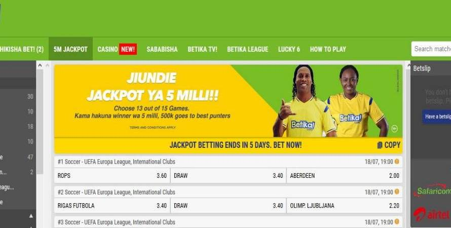 28th & 29th July 2019 Betika Jackpot Predictions
