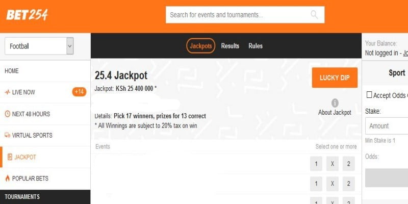 BET254 Weekend Jackpot Predictions