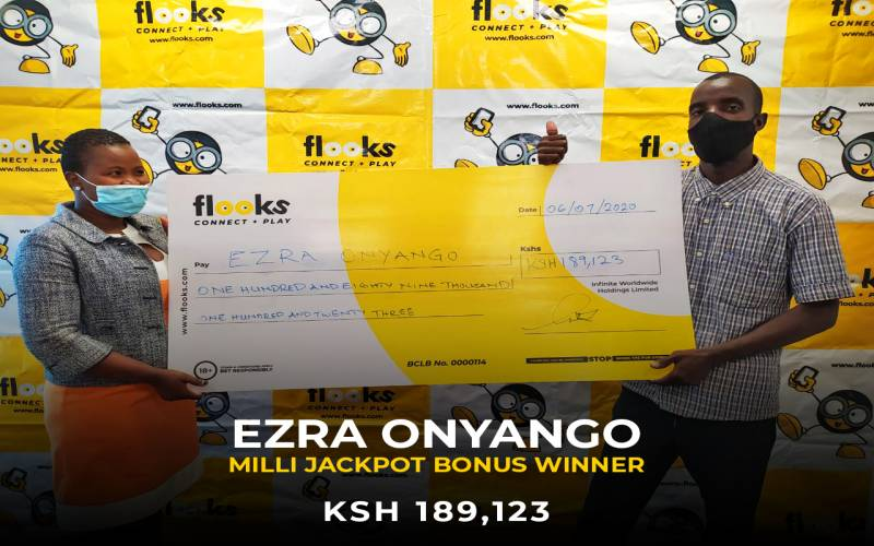 A Lucky man from Kayole Wins a lofty MilliJackpot Bonus of ksh 189,123 from Flooks Betting Company:
