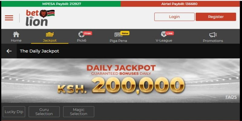 Betlion Daily Jackpot Predictions