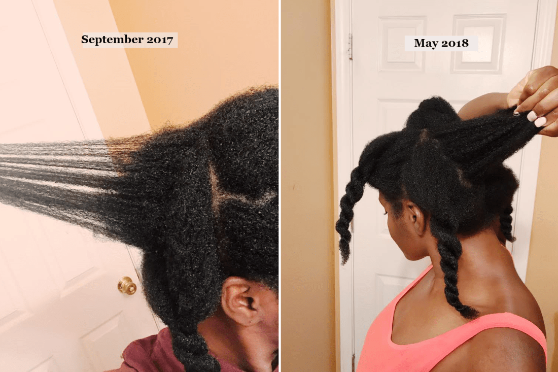 Crown breakage: Healthy hair growth before and after from September 2017-May 2018 - taikafilat.com