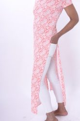 Robe longue rose et blanc taille XS
