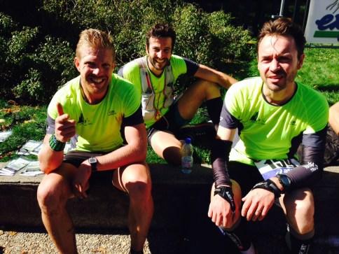 Une partie de l'équipe à l'arrivée des France de Trail 2015 : David MAJEWSKI, Nicolas CHASTANIER et Julien COGNE