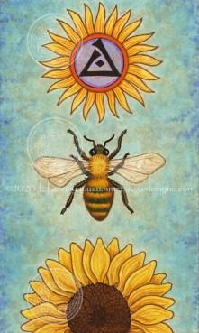 "The Sun (Sun / Bee / Sunflower): 2.75"" x 4.75"", watercolor and acrylic gouache on heavyweight multi-media paper."