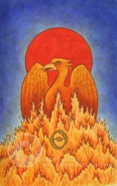 """Phoenix's Rebirth: 5.25"""" x 8.5"""", watercolor and acrylic gouache on paper."""