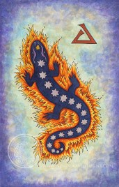 """Fire Salamander: 5.25"""" x 8.5"""", watercolor and acrylic gouache on paper."""