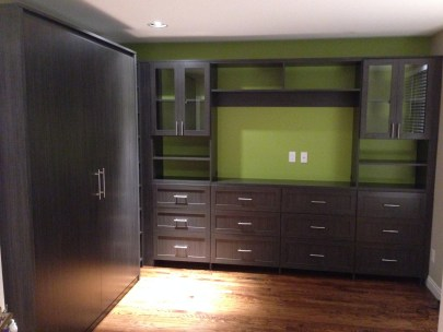 Guest room with custom built Murphy bed and entertainment unit combo