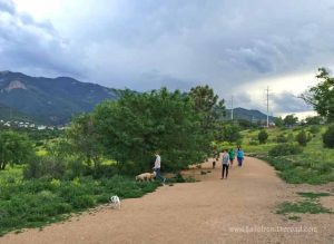 Bear Creek Dog Park in Colorado Springs, has walking paths and a creek.