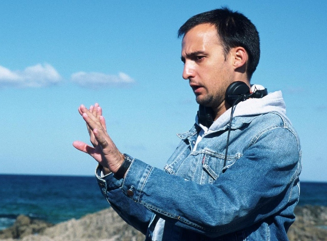 Director Alejandro Amenabar on set of 'The Sea Inside'
