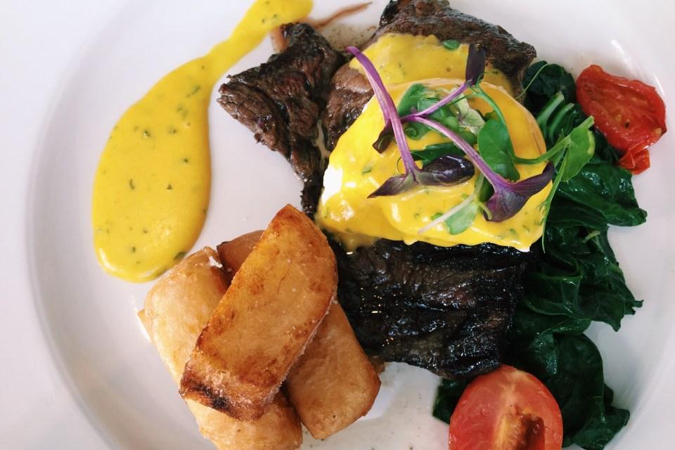 Steak with Hollandaise sauce at the Spier Restaurant