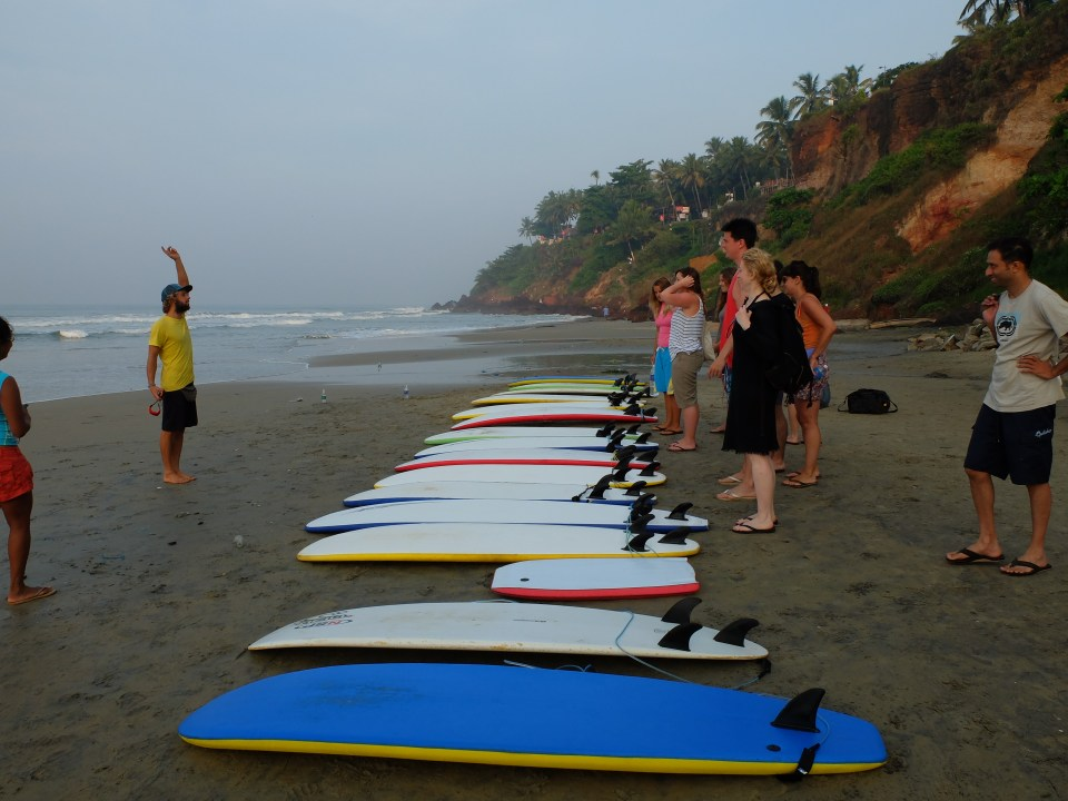 Learn to surf Varkala Beach