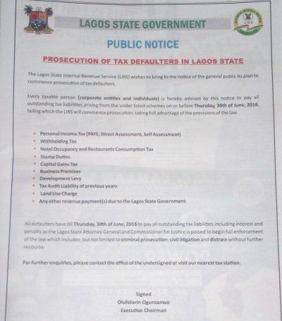 Lagos State Government Public Notice - Taisha Associates