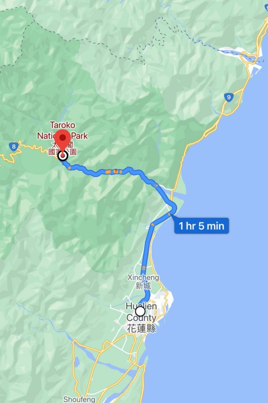 Taroko Gorge is located around 1 hour by car from Hualien City.