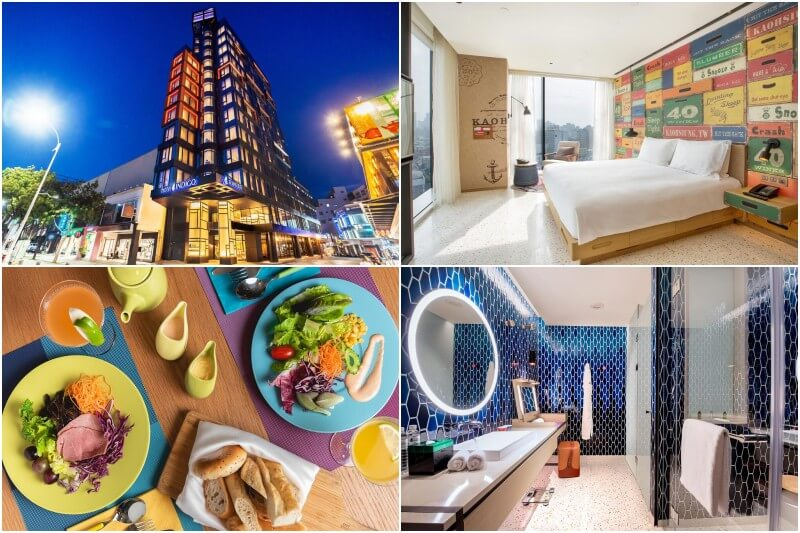 Design hotel Indigo Kaohsiung Central Park with king size bed.