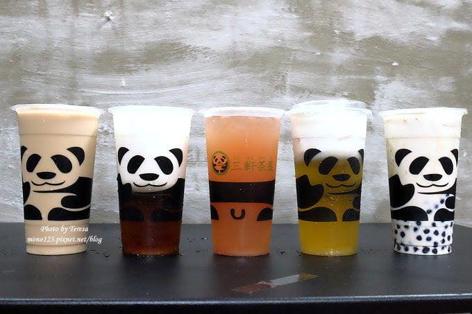 【熱血採訪】【台中北區】三軒茶屋.萌萌的貓熊爬上杯子,吸睛又療癒,漸層的奶霜、鮮奶茶系列好喝度百分百,小三美日旁、新宿廣場對面