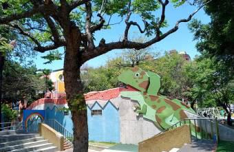 2020 04 16 081506 - 迷彩恐龍在公園出沒!磨石子溜滑梯、兒童感官遊戲設施、大沙坑,科博館附近設備完善的親子公園