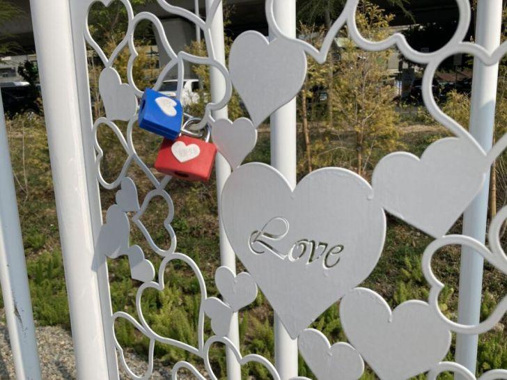 2021 03 19 012019 - 豐原車站旁打卡新景點,五彩繽紛花卉佈置成浪漫花廊步道,心鎖橋結合愛心打造成互動式裝置藝術