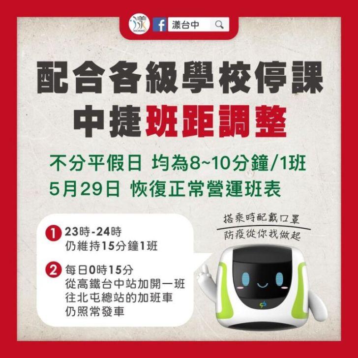 2021 05 18 195821 - 因應全國性停課,台中捷運綠線、公車5/19起調整車班