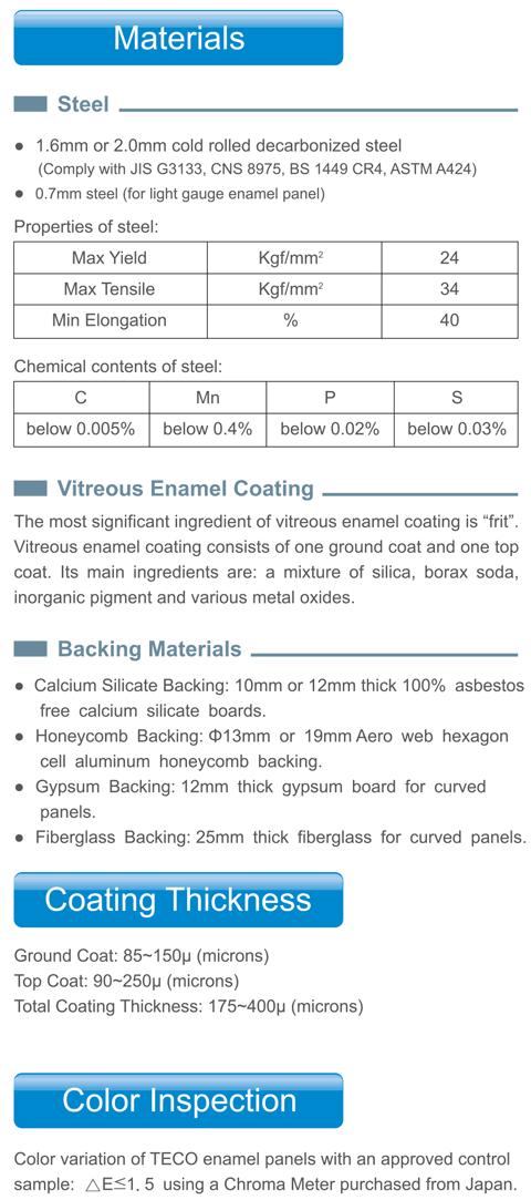 TECO Vitreous Enamel Materials Image