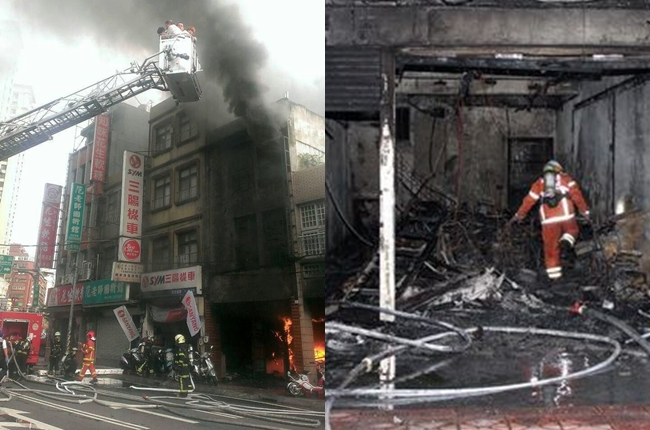 A building in Taoyuan is engulfed by fire.