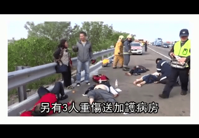 Injured people are seen at the scene of an accident on the national highway near Tainan in Southern Taiwan December 29 2015