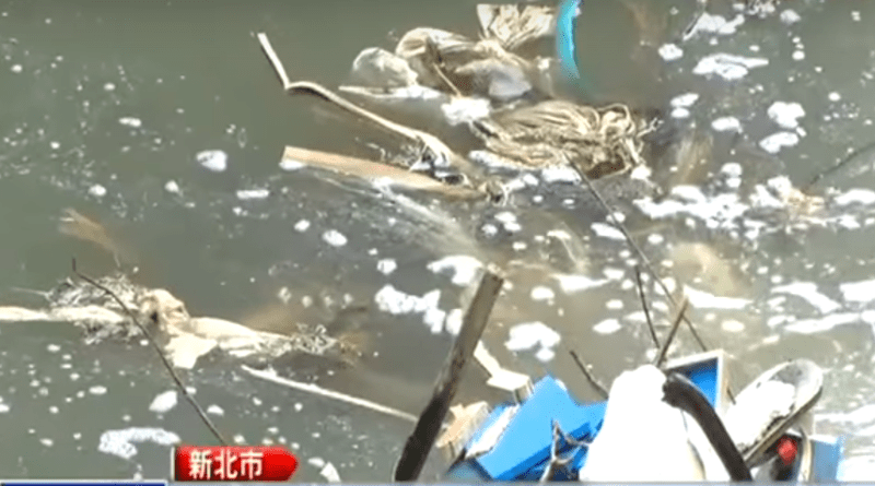 A polluted waterway in New Taipei City