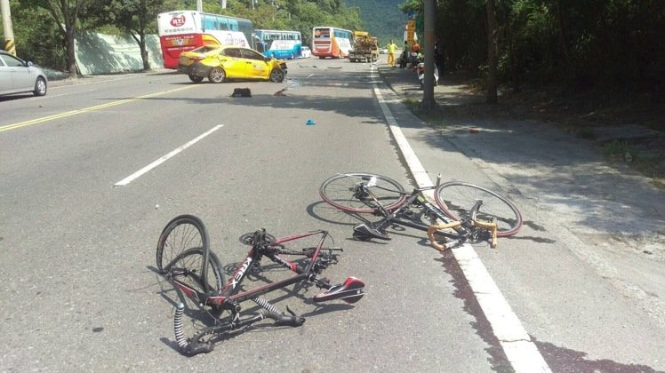 The scene of an accident in Hualian where two cyclists died