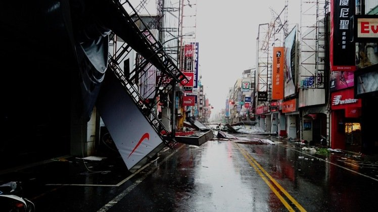 Debris litters a street after a typhoon in Taitung City
