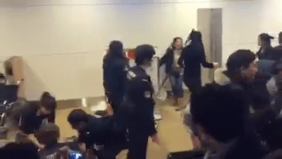 Chinese tourists riot at Chitose Airport, Hokkaido Prefecture, Japan December 2016