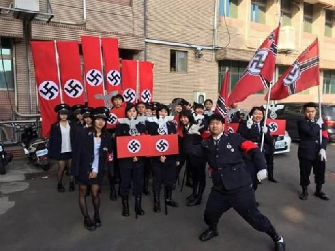 Students at a school in Hsinchu County dress as Nazi SS troops just for fun