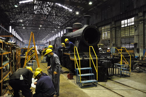 Steam engine being restored at Taipei Railway Workshop