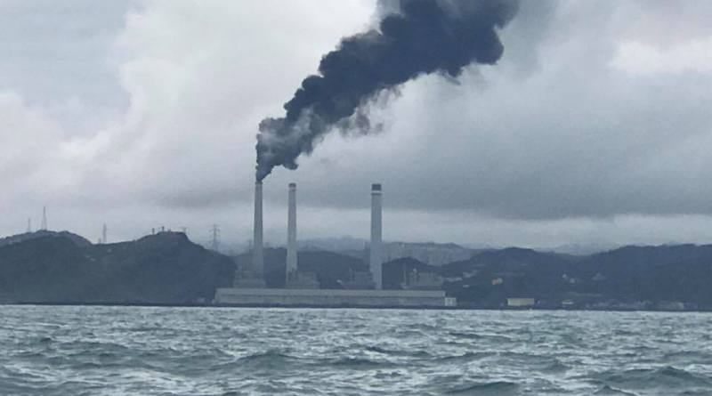 hsieh ho power plant near keelung emits black smoke