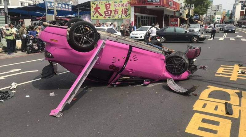 Hello Kitty car on its roof after flipping in Tainan City, Taiwan April 16, 2017