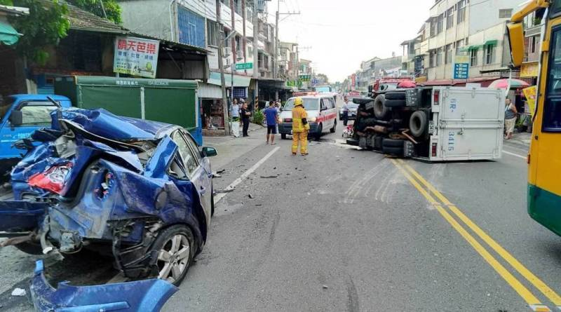 truck and other vehicles involved in crash