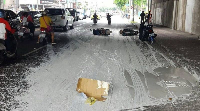 paint spill and crashed scooters