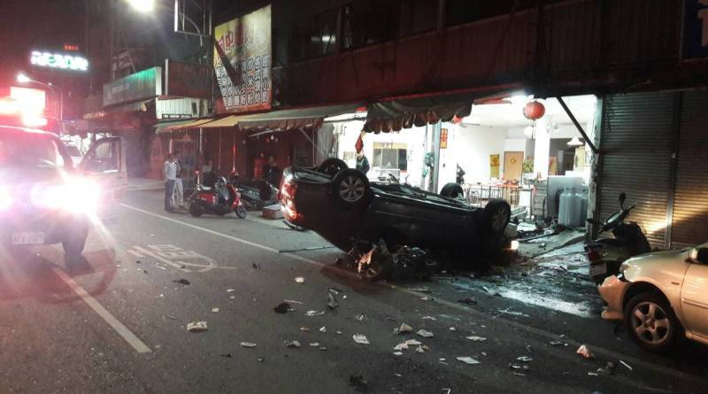 car after accident in Chiayi City