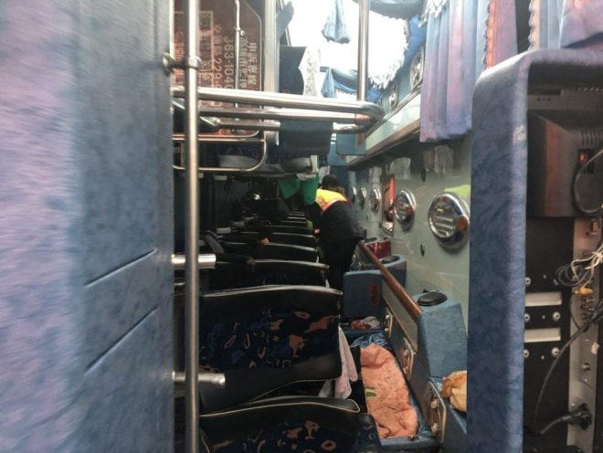 interior of bus that flipped on freeway