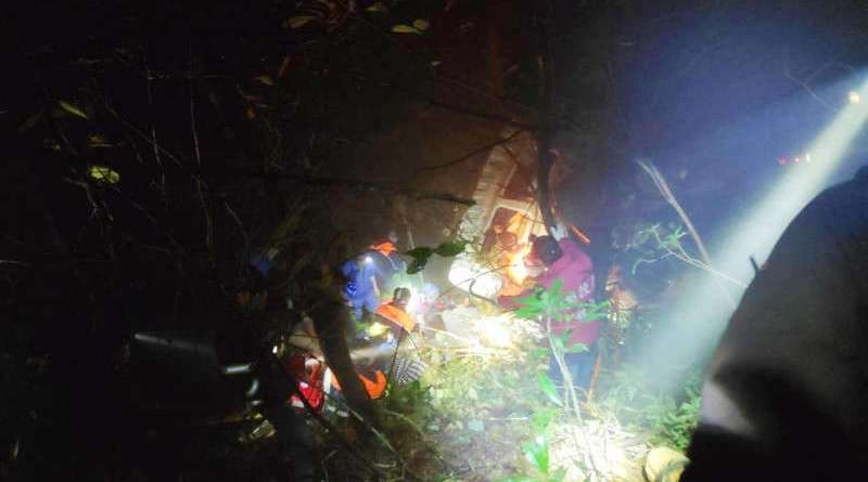 rescue workers at accident site