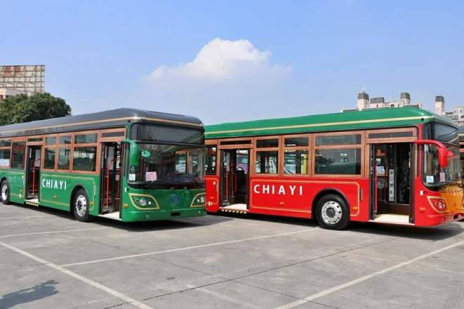 retro-styled electric buses in Chiayi City