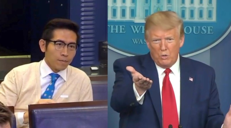 Taiwanese born reporter Chang Ching-yi and US President Donald Trump