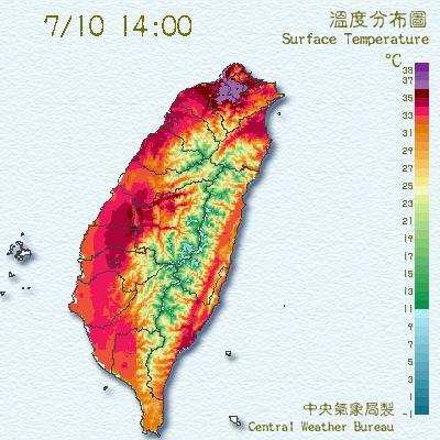 臺灣溫度分布圖