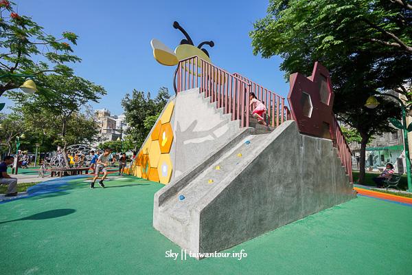 桃園親子景點【永康公園】蜜蜂溜滑梯.免費玩水