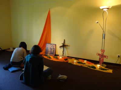 Beginning our regular evening prayers in the parish that welcomed us...