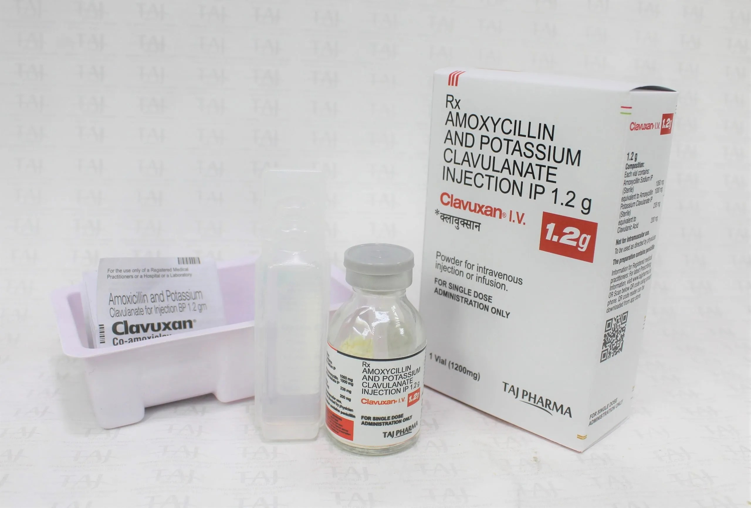 Amoxicillin and Potassium Clavulanate Injection IP 1.2g (Clavuxan) Manufacturers, Suppliers & Exporters India – Taj Pharma {GMP Approved}