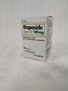 Taj Pharmaceuticals manufacturer of Etoposide Capsule USP 100mg, Etoposide Capsule USP 100mg manufacturer in India TajPharma India, India based manufacturing company of Etoposide Capsule USP 100mg Etoposide Capsules USP 100mg uses anticancer, side effects contraindications Taj Pharmaceuticals Mumbai India