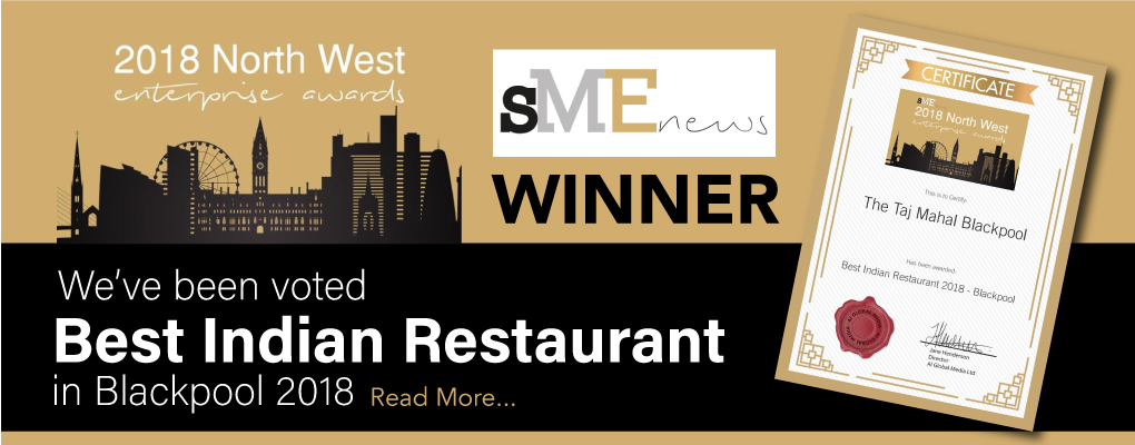 Best Indian Restaurant in Blackpool Award