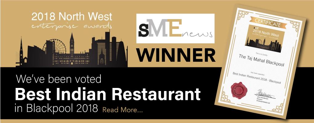 Best Indian Restaurant in Blackpool Award