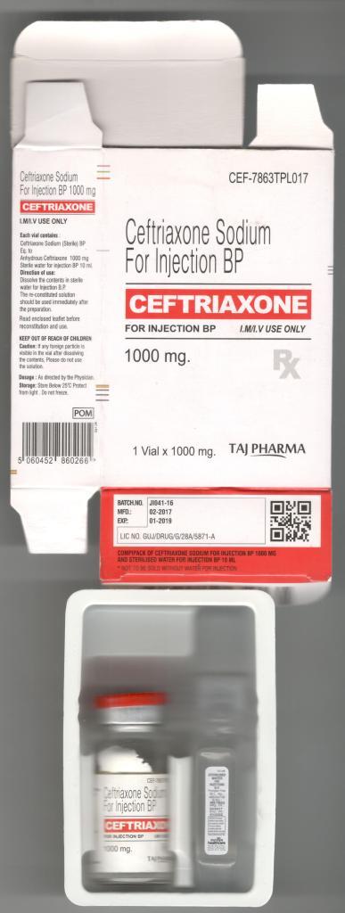 Ceftriaxone 1g Powder for solution for injection taj pharma